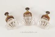 Round-top brass shank pressed glass knob, circa 1910s (3 available)