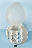 Single chrome plated bath sconce with frosted shade <NOBR>(ca. 1930s)</NOBR>
