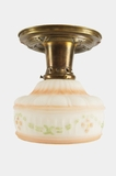 Stenciled shade on embossed brass ceiling fixture, circa 1910s