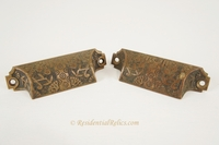 Victorian cast brass bin pull, circa 1880s (2 available)