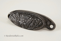 Victorian oval cast iron bin pull, circa 1880s (4 available)