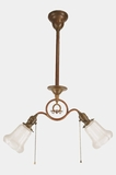 "<i><font color=""#cc6600"">Sold!</i></font color=""#cc6600""> 2-light brass entry fixture with Phoenix acid cutback shades, circa 1910s"