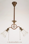 2-light brass entry fixture with Phoenix acid cutback shades, circa 1910s