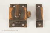 Brass plated cast iron cabinet latch set, circa 1900