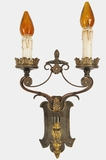 """<i><font color=""""#cc6600"""">Sold!</i></font color=""""#cc6600""""> Cast brass and wrought iron 2-candle Tudor wall sconce, circa 1910s"""