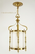 English cast brass lantern with frosted glass cylinder, circa 1910s
