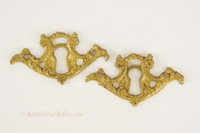 Fancy cast brass keyhole cover, circa 1900s (2 available)