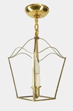 Framberg mid-century brass pendant lantern with wheat motif glass panels, circa 1950s