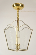 Mid-century Framberg mid-century brass pendant lantern with wheat motif glass panels, circa 1950s