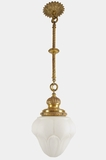 Cast brass pendant light with cased glass artichoke globe, circa 1900s