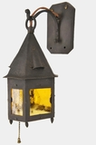 Hammered lantern with amber glass panels, circa 1920s