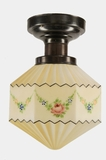Hand painted, pleated glass Deco globe on brass plated ceiling fixture, circa 1930s