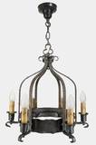 Heavy wrought iron 6-candle Mission chandelier, circa 1910s