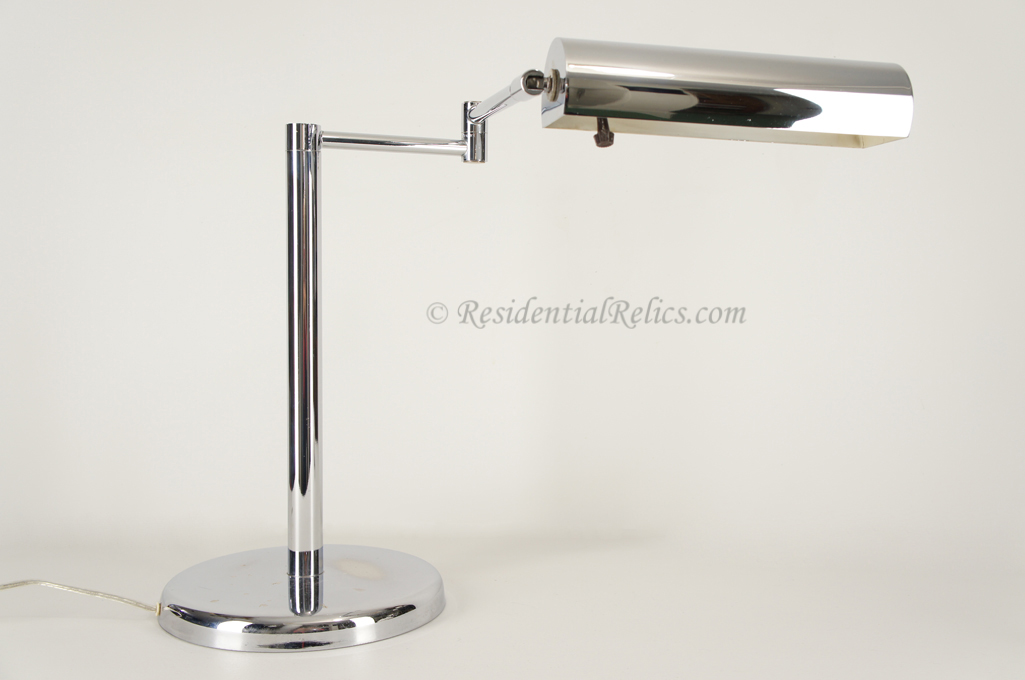 Koch Lowy Omi Chrome Plated Adjule Swing Arm Desk Lamp Circa 1960s