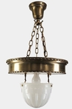 Large 3-chain brass pendant light with inverted glass dome, circa 1910s (2 available)