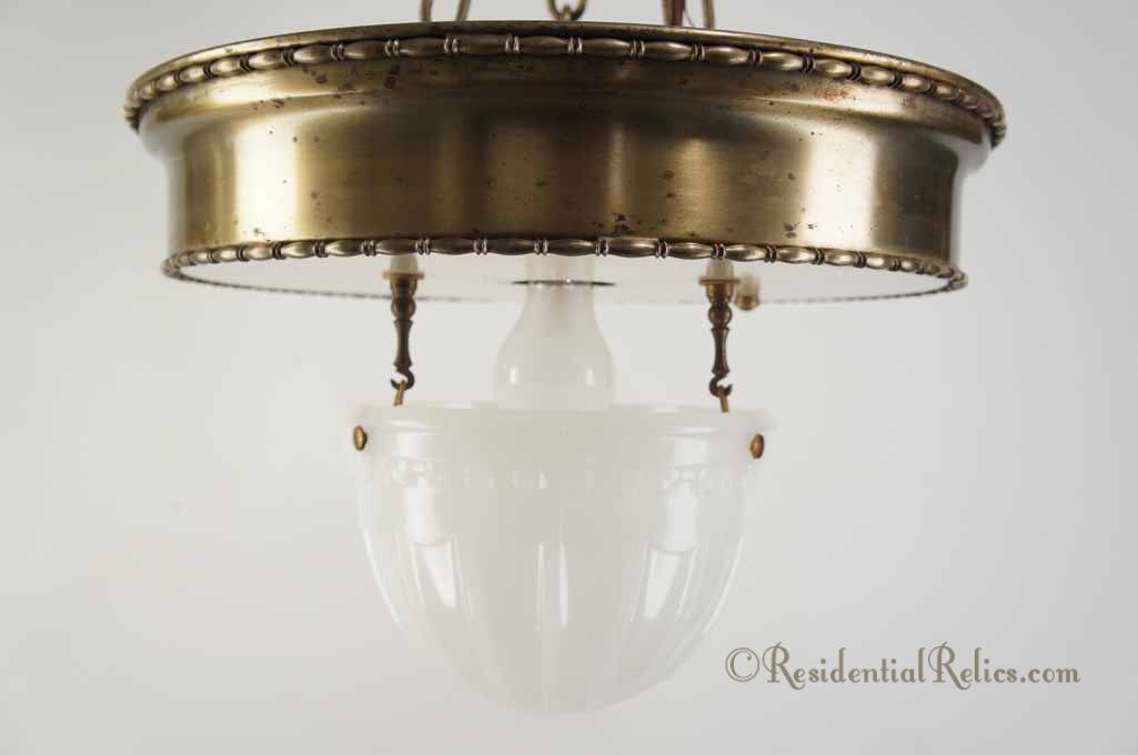 Large 3-chain antique brass pendant light with inverted glass dome ...
