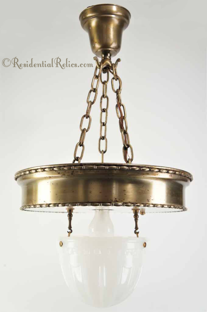 Lighting Basement Washroom Stairs: Large 3-chain Antique Brass Pendant Light With Inverted