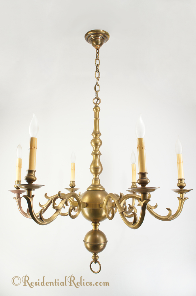 Large 6 Candle Italian Cast Brass Chandelier Circa 1950s
