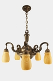 Large brass chandelier with amber cased glass shades, circa 1920s