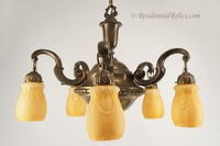 Large brass chandelier with amber cased glass shades, circa 1930s