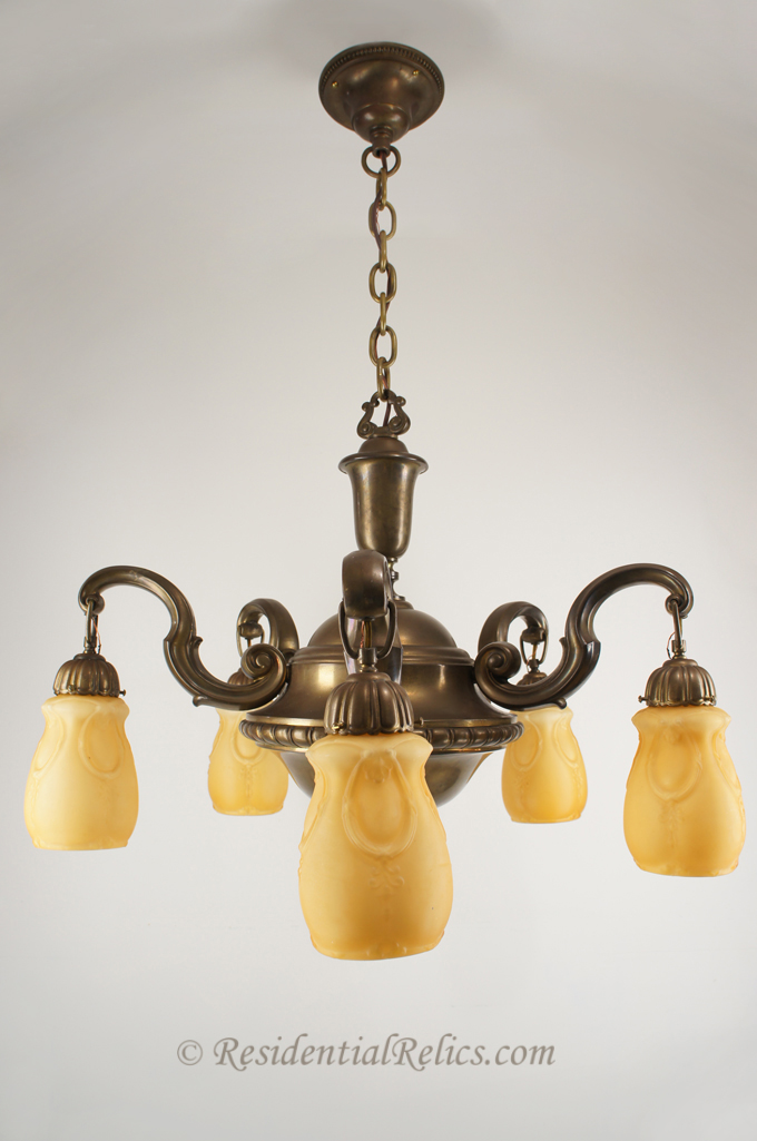 Large antique brass chandelier with amber cased glass shades large brass chandelier with amber cased glass shades circa 1930s mozeypictures Gallery