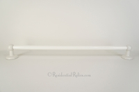 Large milk glass towel bar with round ceramic ends, circa 1930s