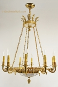 Large 10-candle gilt bronze and cut crystal chandelier, circa 1960s