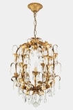"<i><font color=""#cc6600"">On Hold!</i></font color=""#cc6600""> Mid-Century Italian gilt crystal basket chandelier, circa 1950s"