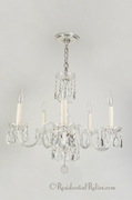 Mid-Century 5-candle crystal chandelier, circa 1960s
