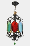 Mid-century Italian pendant lantern with colored glass panels, circa 1960s
