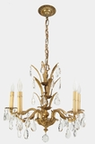 """<i><font color=""""#cc6600"""">Sold!</i></font color=""""#cc6600""""> Mid-century Spanish cast brass crystal chandelier, circa 1950s"""