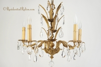Mid-century Spanish cast brass crystal chandelier, circa 1950s