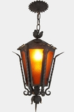 Mid-century wrought iron lantern with amber glass panels, circa 1960s