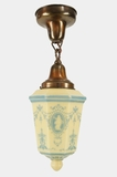 Miller Co. ceiling fixture with blue stenciled custard globe, circa 1930s