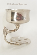Nickel plated brass cup and tooth brush holder, circa 1910s