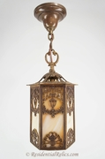 Ornate slag glass paneled lantern, circa 1920s