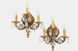 PAIR 3-candle cast brass and crystal wall sconces, circa 1940s