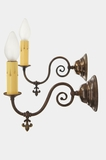 Pair brass wall sconces (gas converted to electric), circa 1900s