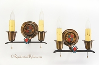 PAIR Beardsley polychrome 2-candle wall sconces, circa 1910s