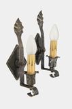 PAIR single-candle wrought iron wall sconces, circa 1910s