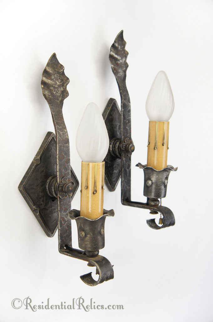Pair antique 1910s wrought iron wall sconces pair single candle wrought iron wall sconces circa 1910s aloadofball Image collections