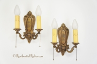 PAIR 2-candle cast brass wall sconces, circa 1920s