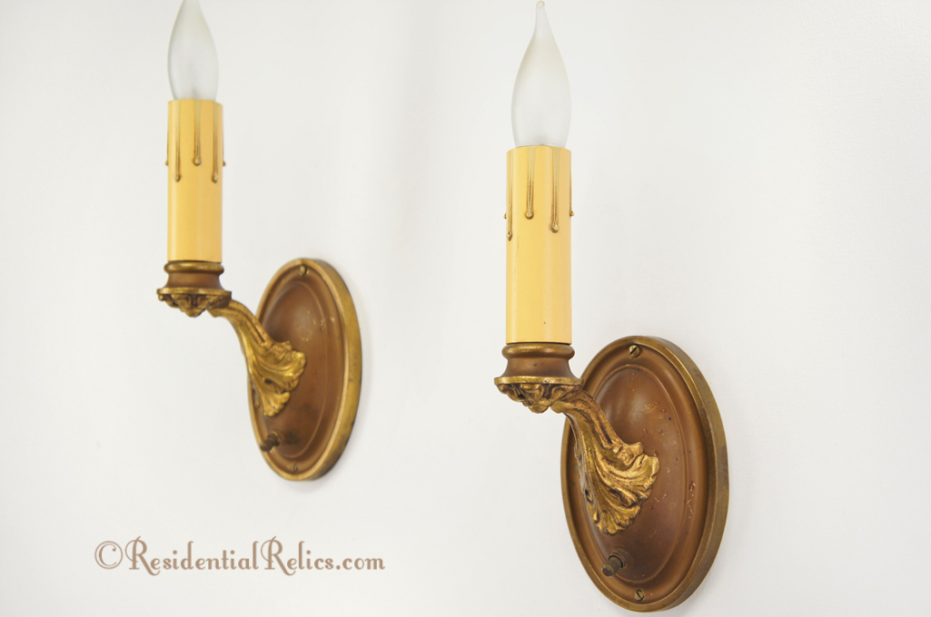 Pair Antique 1920s Single Candle Brass Wall Sconces