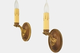 PAIR single candle brass wall sconces, circa 1920s
