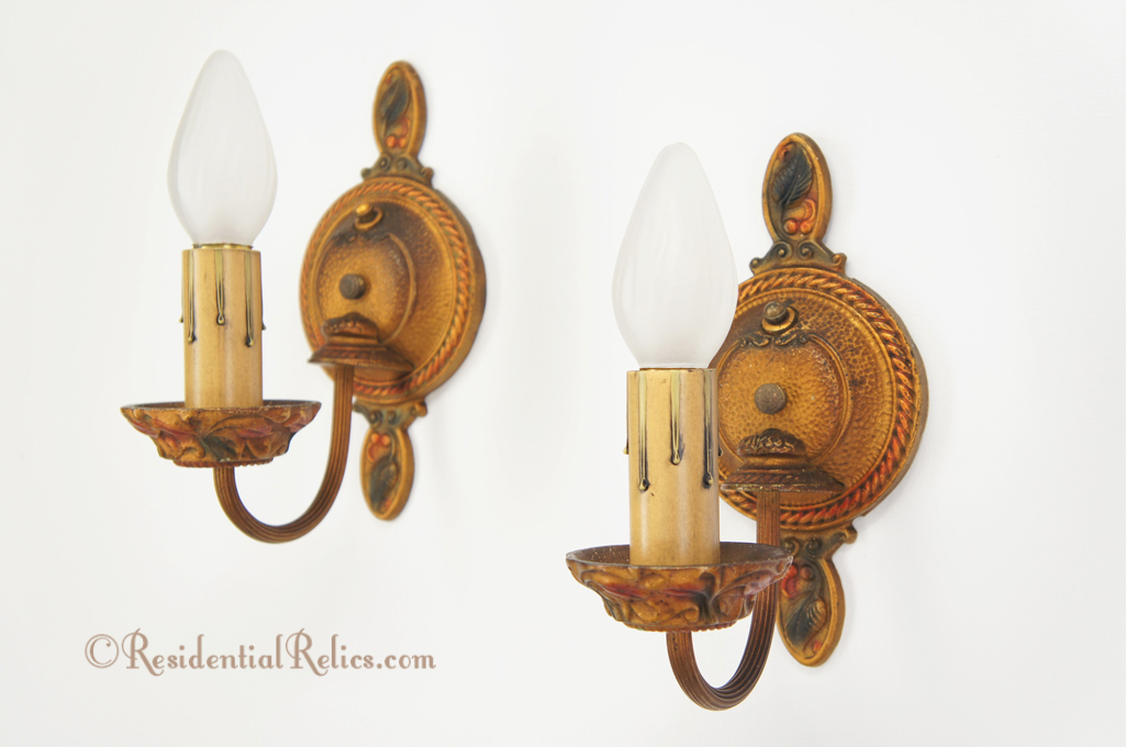 Pair Antique Moe Bridges 1920s Polychrome Cast Iron Wall Sconces