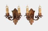 PAIR 2-candle cast brass and wrought iron wall sconces, circa 1910s