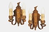 PAIR 2-candle polychrome cast-iron wall sconces, circa 1920s