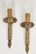 PAIR cast brass single candle leaf wall sconces, circa 1910s