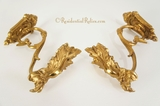 PAIR cast bronze gilt finish drapery holdbacks, circa 1900s (2 pairs available)
