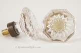 PAIR of face cut glass knobs, circa 1910s